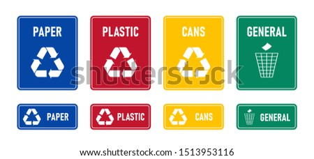 Recycling signs with waste products materials labels or stickers - plastic, paper, cans, general. Squared form, colored labels. White recycling symbols. Flat vector illustration