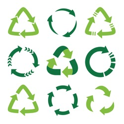 Recycling symbol of ecologically pure funds, set of green arrows
