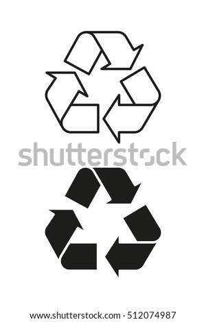 Recycling symbol on packaging, black and outline. Vector