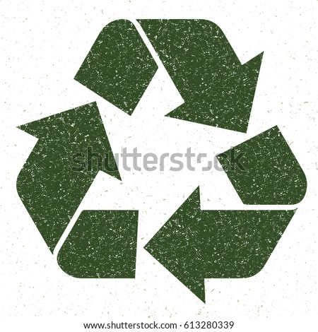 Recycling symbol vector green grunge hand drawing texture in eco concept illustration.