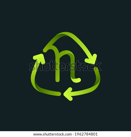 Recycling symbol with N letter line logo. Green reuse sign with rotating arrows. Vector font for your upcoming eco-friendly and zero waste projects.  Foto stock ©