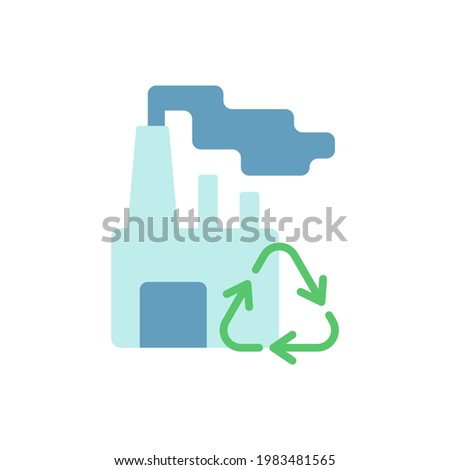 Recycling vector flat color icon. Converting waste materials into new objects. Recovery and reprocessing. Environment protection. Cartoon style clip art for mobile app. Isolated RGB illustration Foto stock ©