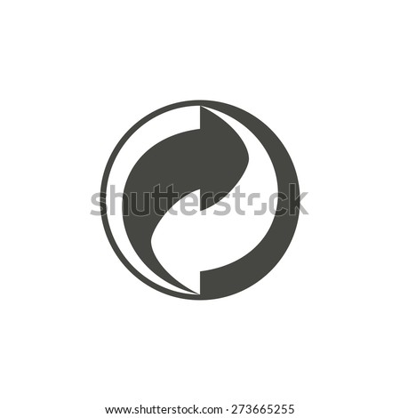 Recycling - vector icon in black on a white background.