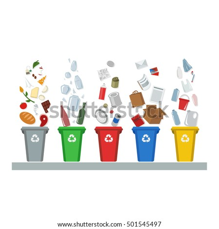 Recycling, waste management,  garbage, metal, glass, bio, paper, trash, flat vector illustration on a white background