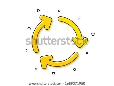 Recycling waste symbol. Recycle arrow icon. Reduce and Reuse sign. Yellow circles pattern. Classic recycling icon. Geometric elements. Vector