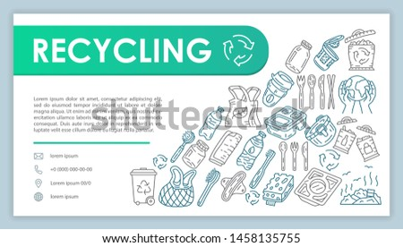 Recycling web banner, business card vector template. Company contact page with phone, email linear icons. Ecology protection presentation, web page idea. Waste reuse corporate print design layout