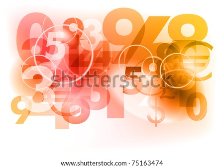 red abstract background with numbers