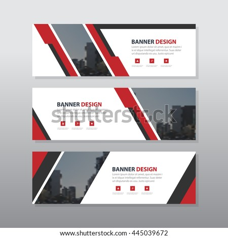 Red abstract corporate business banner template, horizontal advertising business banner layout template flat design set , clean abstract cover header background for website design #445039672