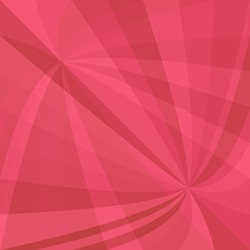 Red abstract dynamic background - vector design from curved ray stripes