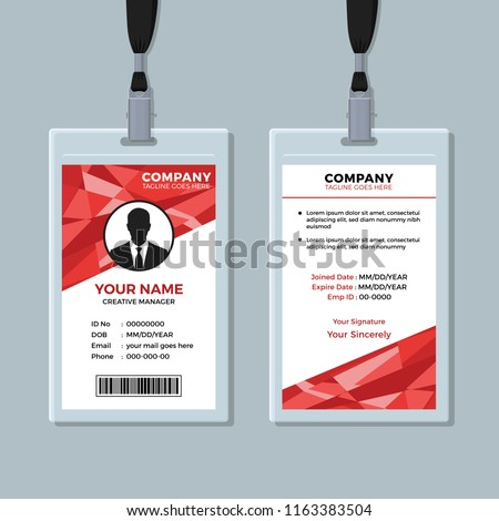 Red Abstract Geometric ID Card Template