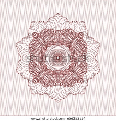 Red abstract linear rosette
