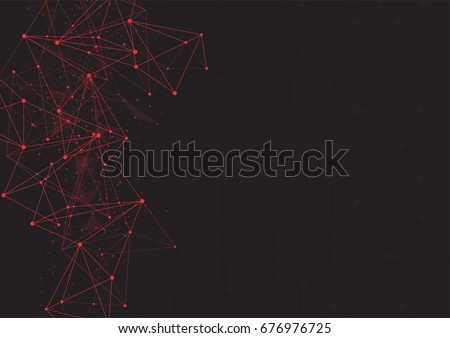 red abstract polygonal space