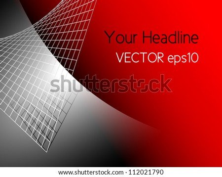 Red abstract technology background with silver grey metal