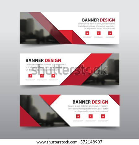 Red abstract triangle corporate business banner template, horizontal advertising business banner layout template flat design set , clean abstract cover header #572148907