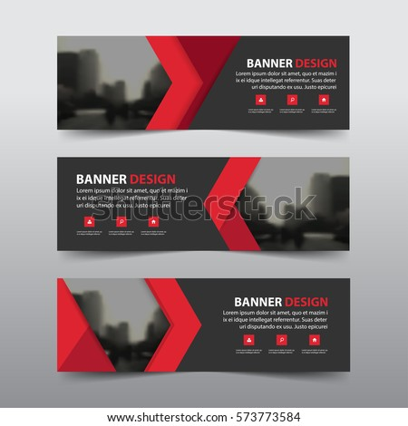 Red abstract triangle corporate business banner template, horizontal advertising business banner layout template flat design set , clean abstract cover header background for website design