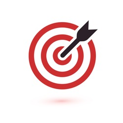 Red aim, arrow, Idea concept, perfect hit, winner, target goal icon. Success abstract pin logo