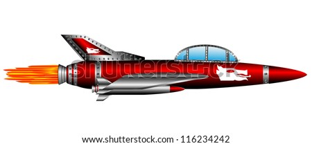 red air fighter isolated on