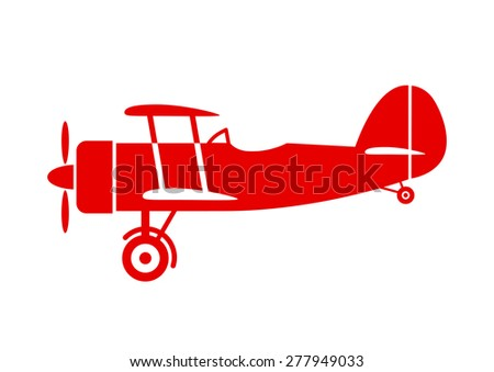 red aircraft icon on white