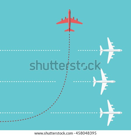 Shutterstock Red airplane changing direction and three white ones. New idea, change, trend, courage, creative solution, innovation and unique way concept. EPS 8 vector illustration, no transparency