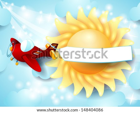 Red airplane with banner on sky background. Vector