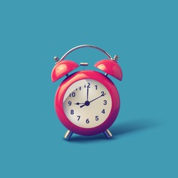Red alarm clock is ringing. Retro alarm clock. - Vector
