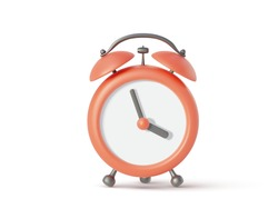 Red alarm clock isolated on white background. Vector illustration