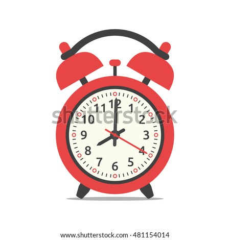 Red alarm clock showing eight o'clock, isolated on white background. Flat design. Vector illustration. EPS 8, no transparency Сток-фото ©