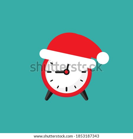 red alarm clock with Santa Hat. Flat icon isolated on blue background. Fast time stop watch, limited offer, deadline. Vector illustration. Holidays schedule. Christmas sales, New Year countdown.