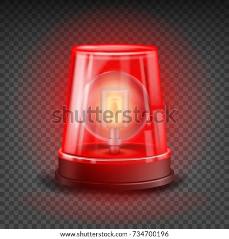Red Alert Siren Vector. Light Flasher  Object. Red Alert Emergency Effect. Beacon For Police Cars Ambulance, Fire Trucks. Realistic Flashing Siren. Transparent Background Illustration