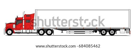 Red american truck with trailer vector
