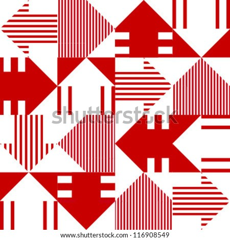 red & white arrow seamless pattern - stock vector