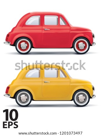 red an yellow cars isolated on