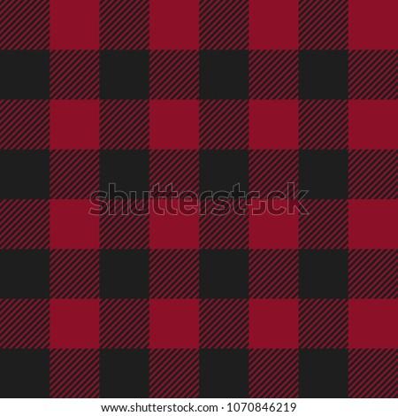 Red and Black Buffalo Check Plaid Seamless Pattern