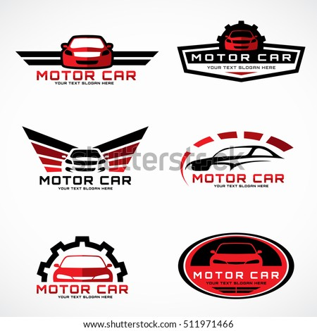 Red and black car wings logo for business and service vector set design