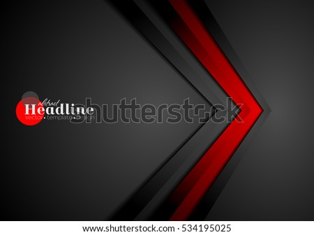 Red and black contrast tech arrows background. Vector corporate design