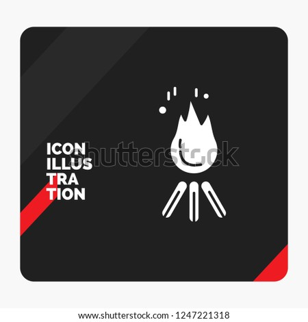 Stock Photo Red and Black Creative presentation Background for fire, flame, bonfire, camping, camp Glyph Icon