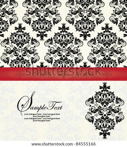 red and black damask card
