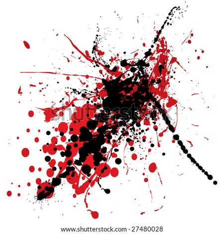 red and black ink splat with blood like dribble