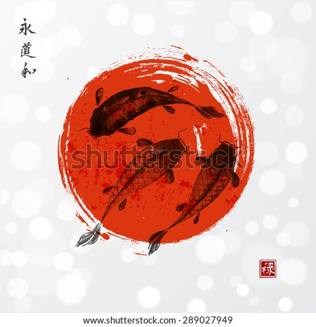 red and black koi carps hand
