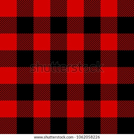 Red and Black Lumberjack plaid seamless pattern