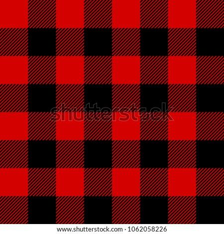 Red and Black Lumberjack plaid seamless pattern