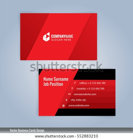 Black and red lined business card download free vector art stock red and black modern business card template illustration vector 10 fbccfo