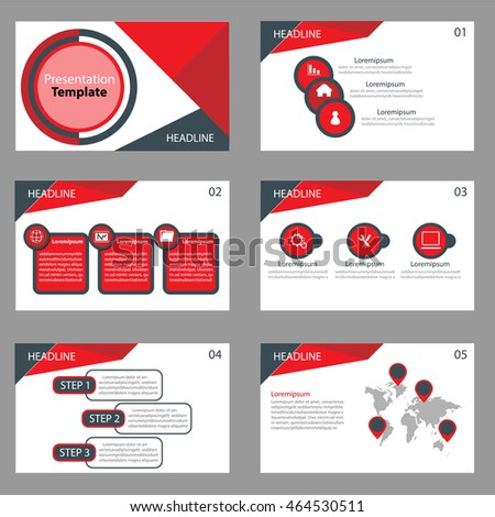 red and black multipurpose Infographic elements and icon presentation template flat design set for advertising marketing brochure
