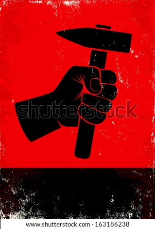 red and black poste witth hand...