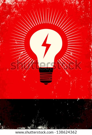 red and black poster with bulb...