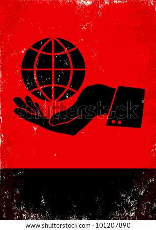 Red and black poster with hand and globe