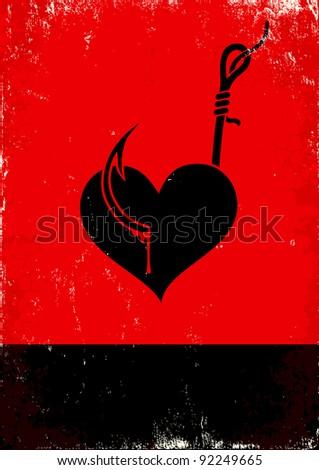 red and black poster with heart