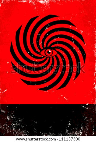 Red and black poster with hypnosis print