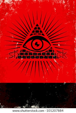 Red and black poster with pyramid and eye