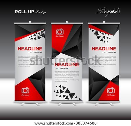 red and black roll up banner template vector illustration polygon background banner design. Black Bedroom Furniture Sets. Home Design Ideas